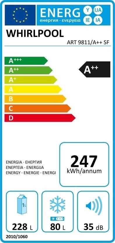 energetický štítek ledničky Whirlpool ART 9811 / A++ SF