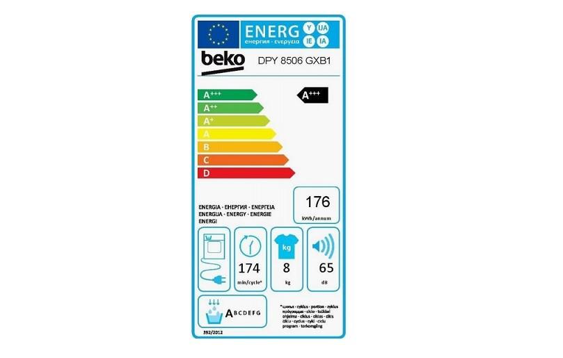 Energetický štítek sušičky Beko DPY 8506 GXB1