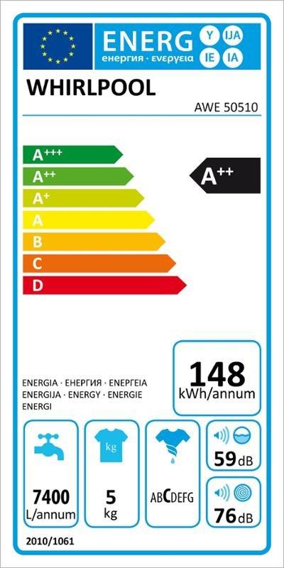 Energetický štítek pračky Whirlpool AWE 50510