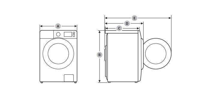 Šířka, výška a hloubka pračky