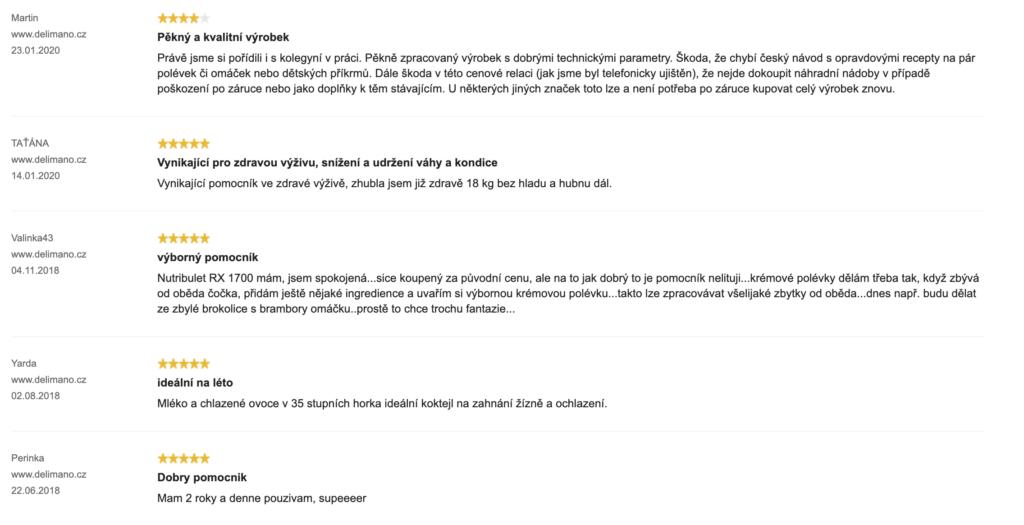 Delimano Nutribullet RX 1700 - hodnocení zákazníků