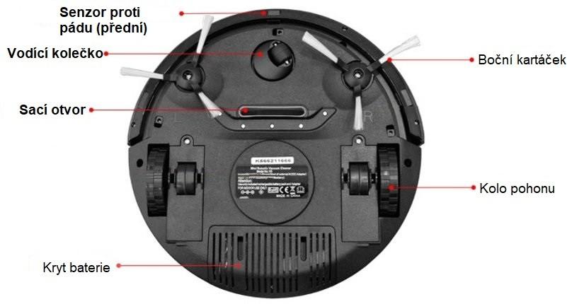 Spodní strana robotického vysavače
