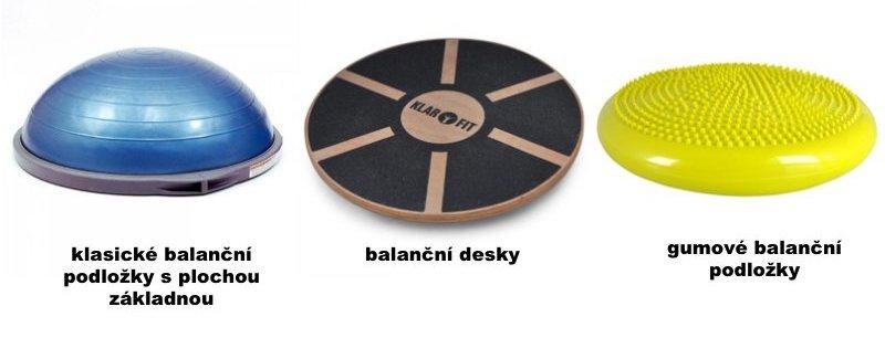 balanční podložky rozdělení - klasické, desky, gumové