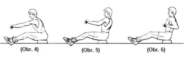 Cvičení ramen na veslovacím trenažéru