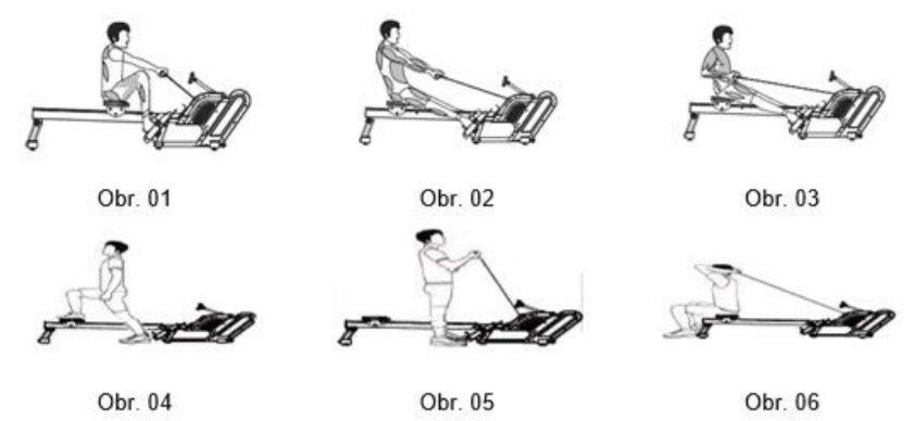 Fáze cvičení na veslovacím trenažéru