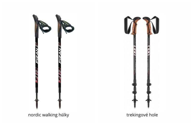 Rozdíl mezi trekingovými holemi a hůlkami na nordic walking