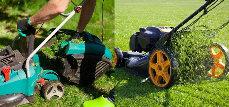 Zpracování trávy elektrické sekačky