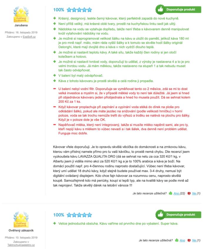 zkušenosti uživatelů s DeLonghi ECAM 22.110 B (zdroj: heureka.cz)