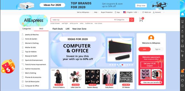 AliExpress web - jedna z nejpopulárnějších čínských nákupních lokalit