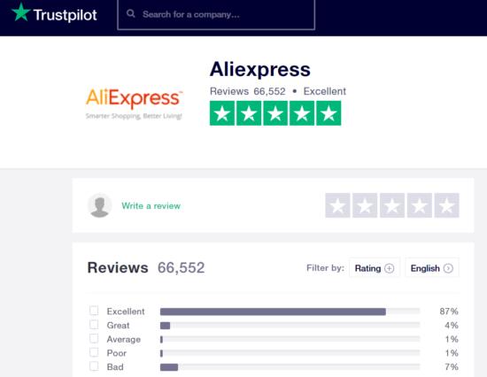hodnocení AliExpresu na stránce Trustpilot