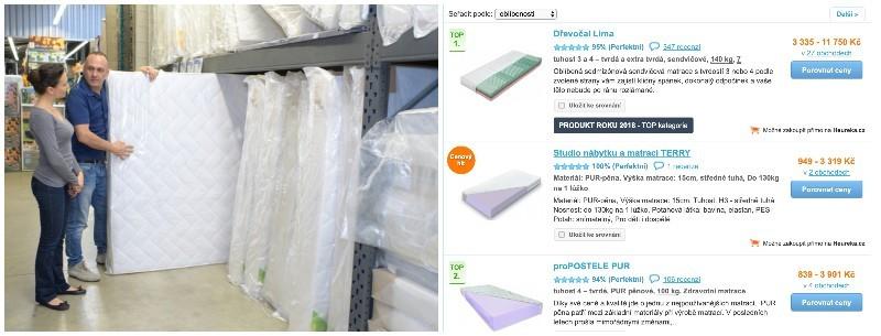 matrace v kamenné prodejně versus eshopy