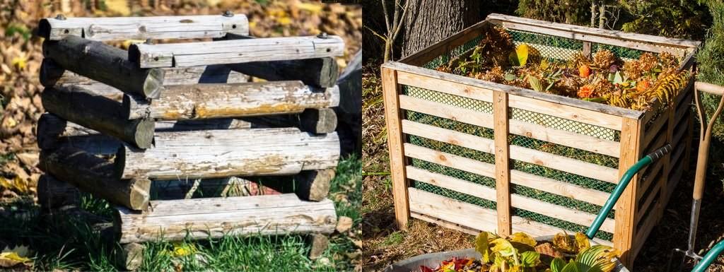 2 doma vyrobené dřevěné kompostéry