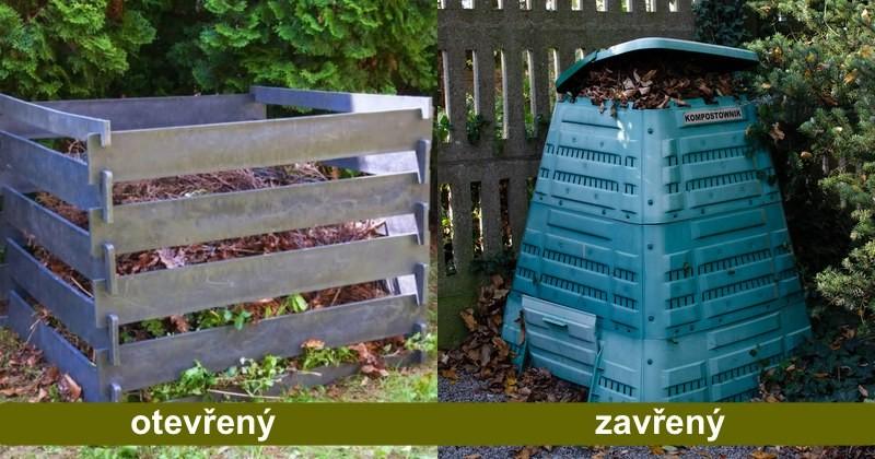 2 plastové kompostéry - otevřený, zavřený