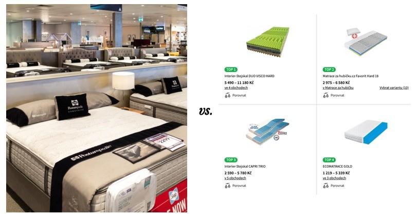 matrace v kamenné prodejně versus eshop