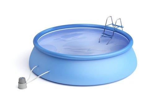 Modrý gumový bazén se samonosným prstencem