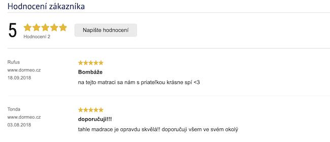 Recenze zákazníků na matraci Dormeo Fresh Prima II