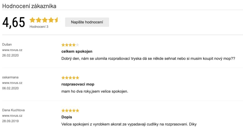 Rovus mop s rozprašovačem V3 - recenze