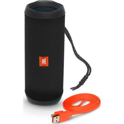 bt reproduktor JBL Flip 4 a červený USB kabel pro nabíjení