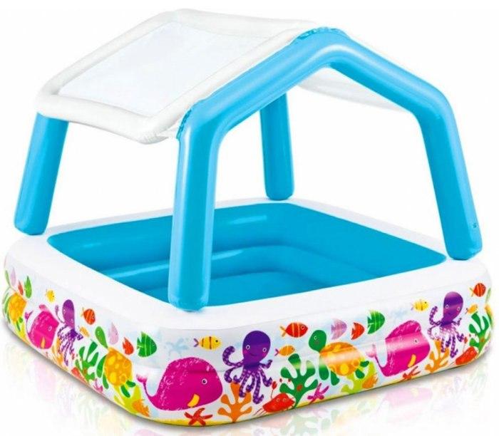 Dětský nafukovací barevný bazén se stříškou