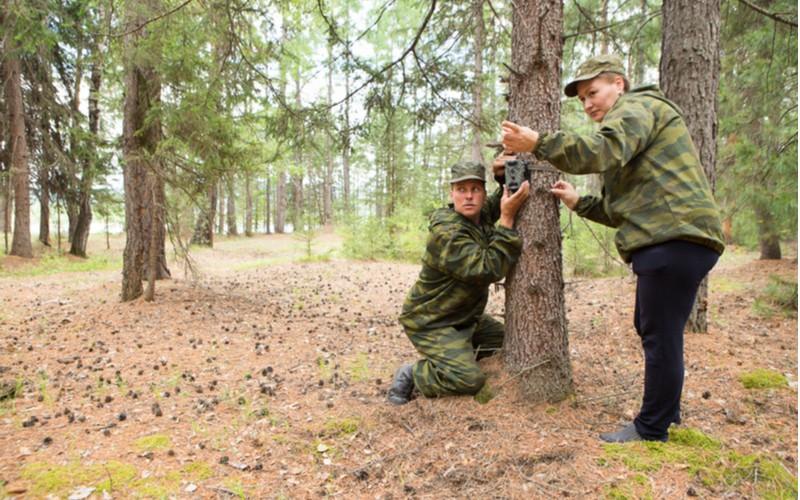 lesníci instalují fotopast na strom