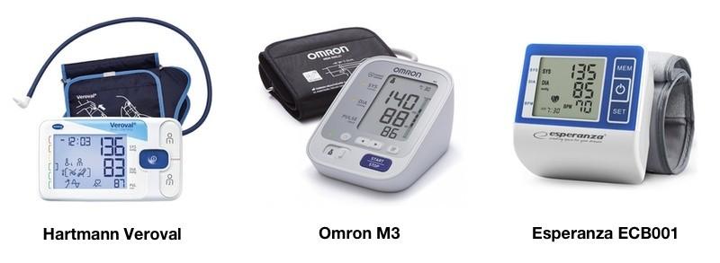 3 digitální tlakoměry na paži - Hartmann Veroval, Omron M3, Esperanza ECB001
