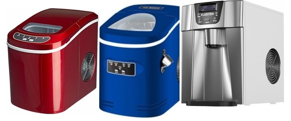 Červený, modrý a šedý výrobník ledu