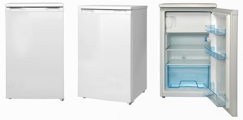 malá bílá lednička zavřená otevřená