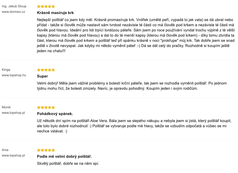 Recenze zákazníků na anatomický polštář Dormeo Aloe Vera