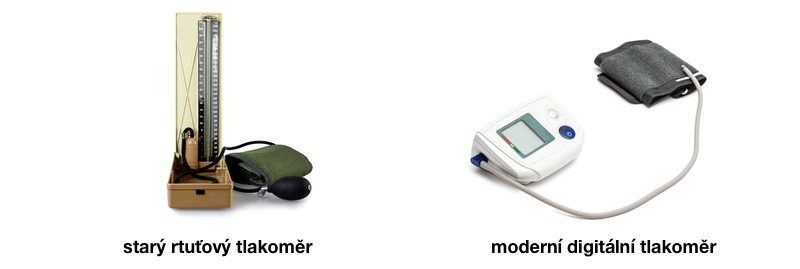 Rtuťový a digitální tlakoměr