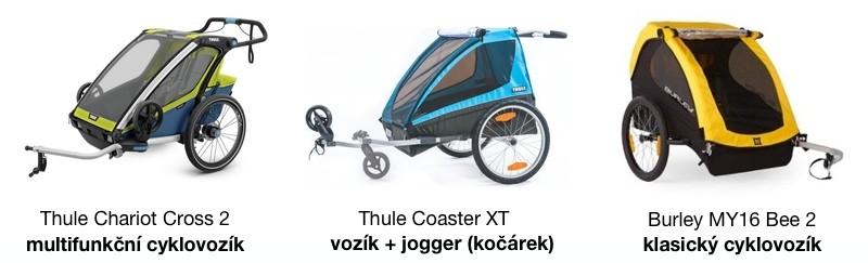 Typ dětského vozíku za kolo - multifunkční, vozík + jogger, klasický