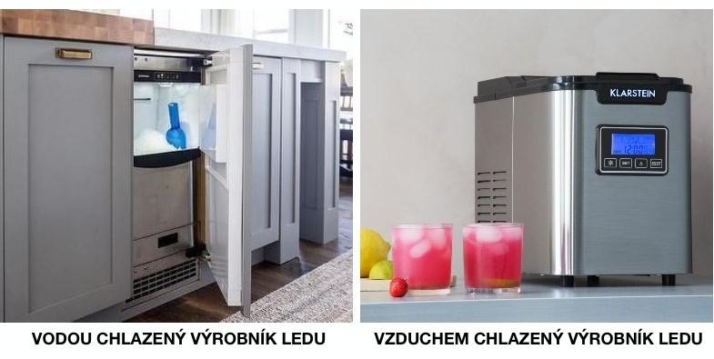 Vodou chlazený a vzduchem chlazený výrobník ledu
