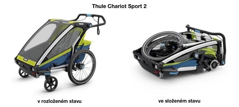Vozík Thule Chariot Sport 2 v rozloženém stavu a ve složeném stavu