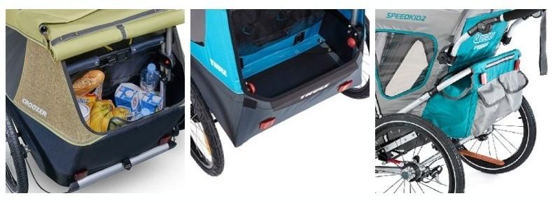 3 vozíky za kolo pro děti - úložný prostor za sedadlem