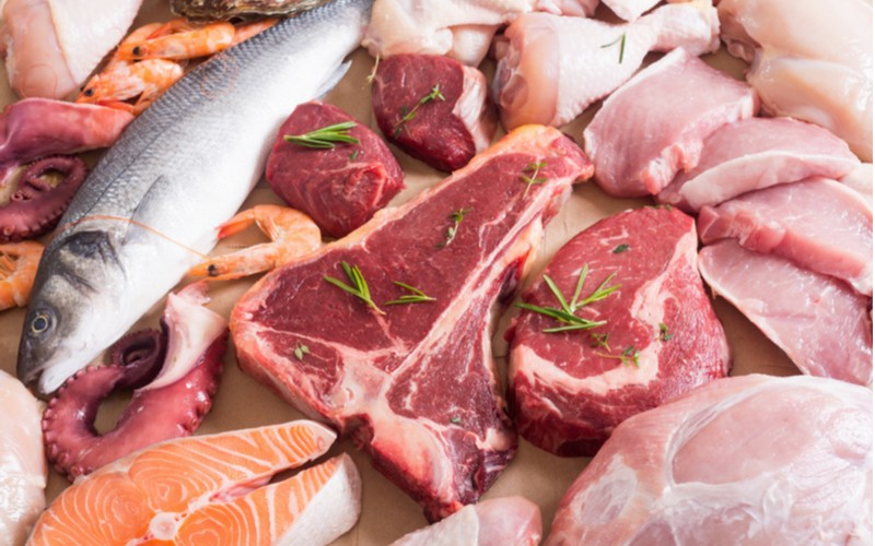 mäso, ryby, morské plody