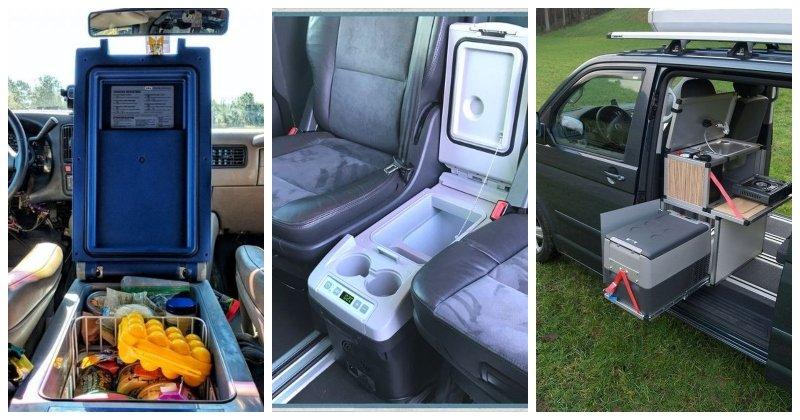 Různé typy umístění autochladničky v aute