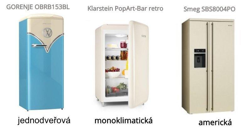 jednodveřová, monoklimatická a americká lednice