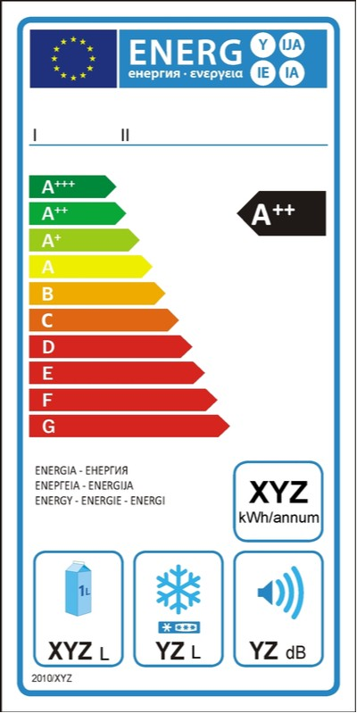 Energetický štítek retro lednice Klarstein
