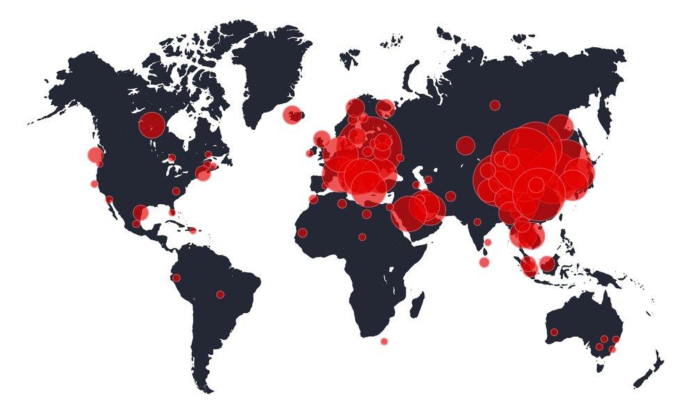Rozšíření Covid-19 na mapě světa