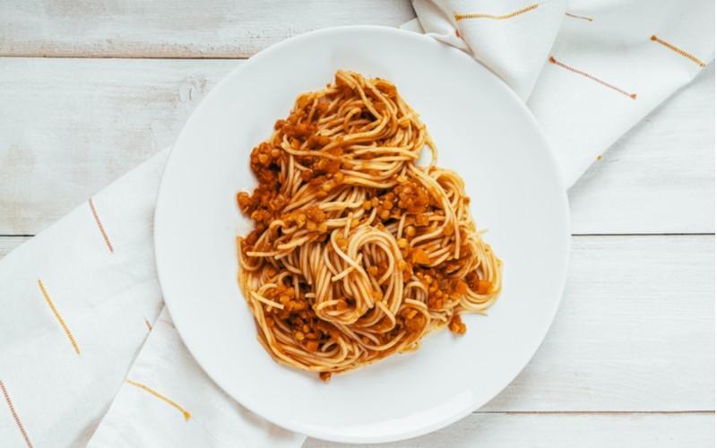 Čočkové špagety Bolognese