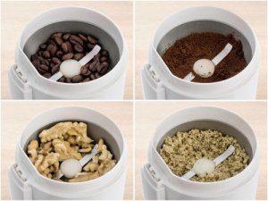 Kávová zrna a ořechy v mlýnku na kávu Delimano Joy