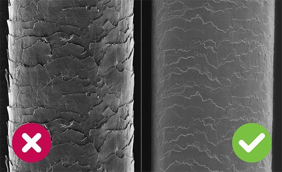 Vlasové kutikuly - srovnání sušení běžným fénem a Wellnea AirPro