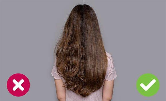 Vlevo jsou vlasy sušené běžným fénem, vpravo vlasy sušené fénem Wellnea