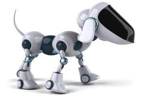 Bílý robotický pes