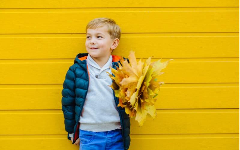 chlapec s listy ze stromu v ruce