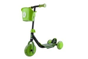 Dětská zelená tříkolová koloběžka