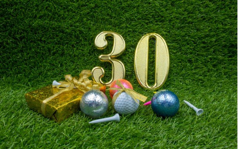 Dárek k 30. narozeninám a golfové míčky