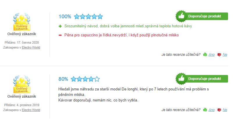 DeLonghi ECAM 23.120 SB - recenze zákazníků