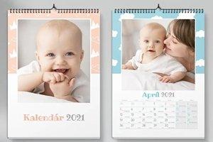 Nástěnný kalendář s miminkem a ženou
