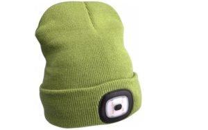 Zelená čepice s čelovkou