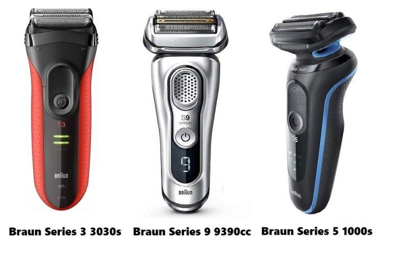 Tři modely planžetových holicích strojků značky Braun